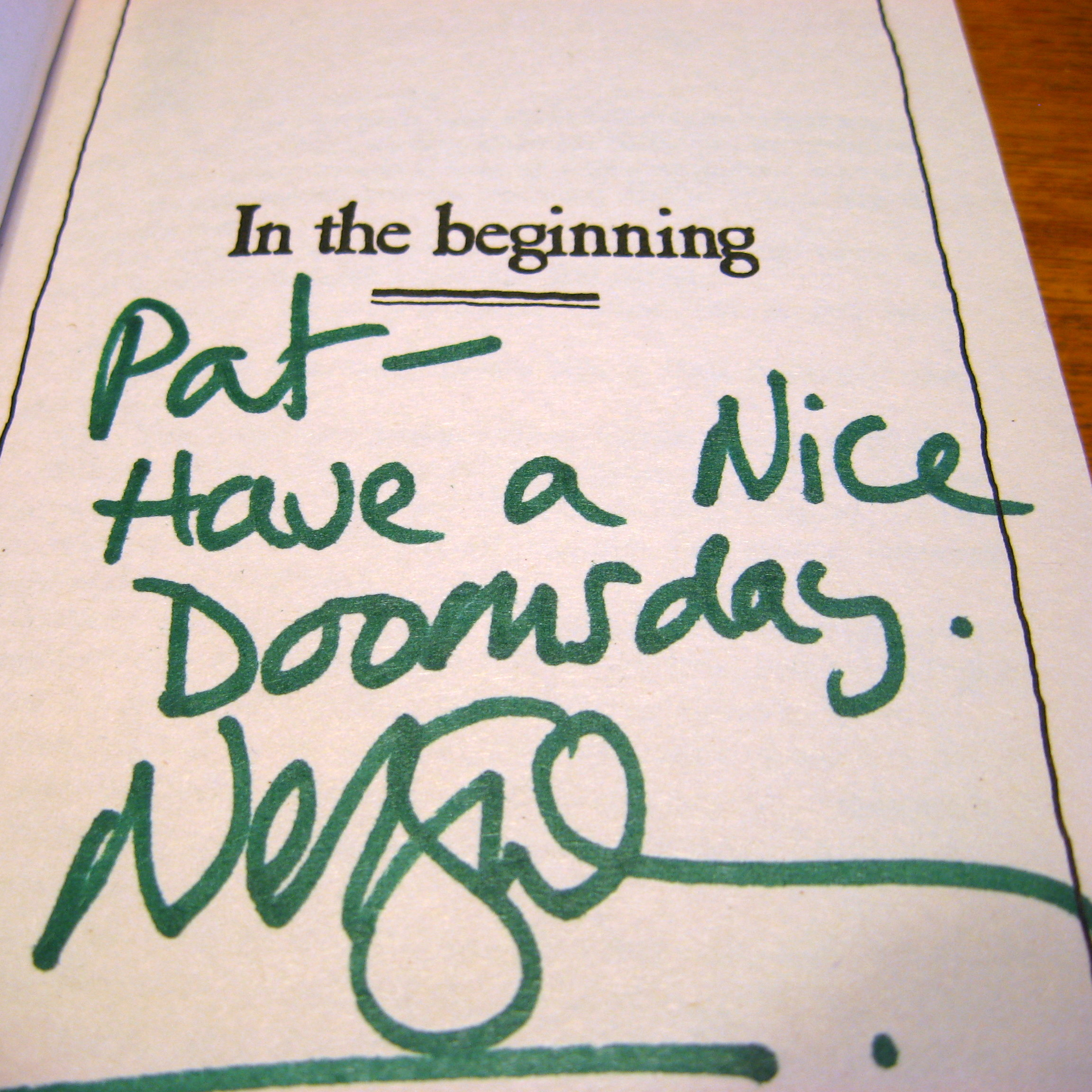 My copy of Good Omens, signed in Dec. 2009 by Neil Gaiman