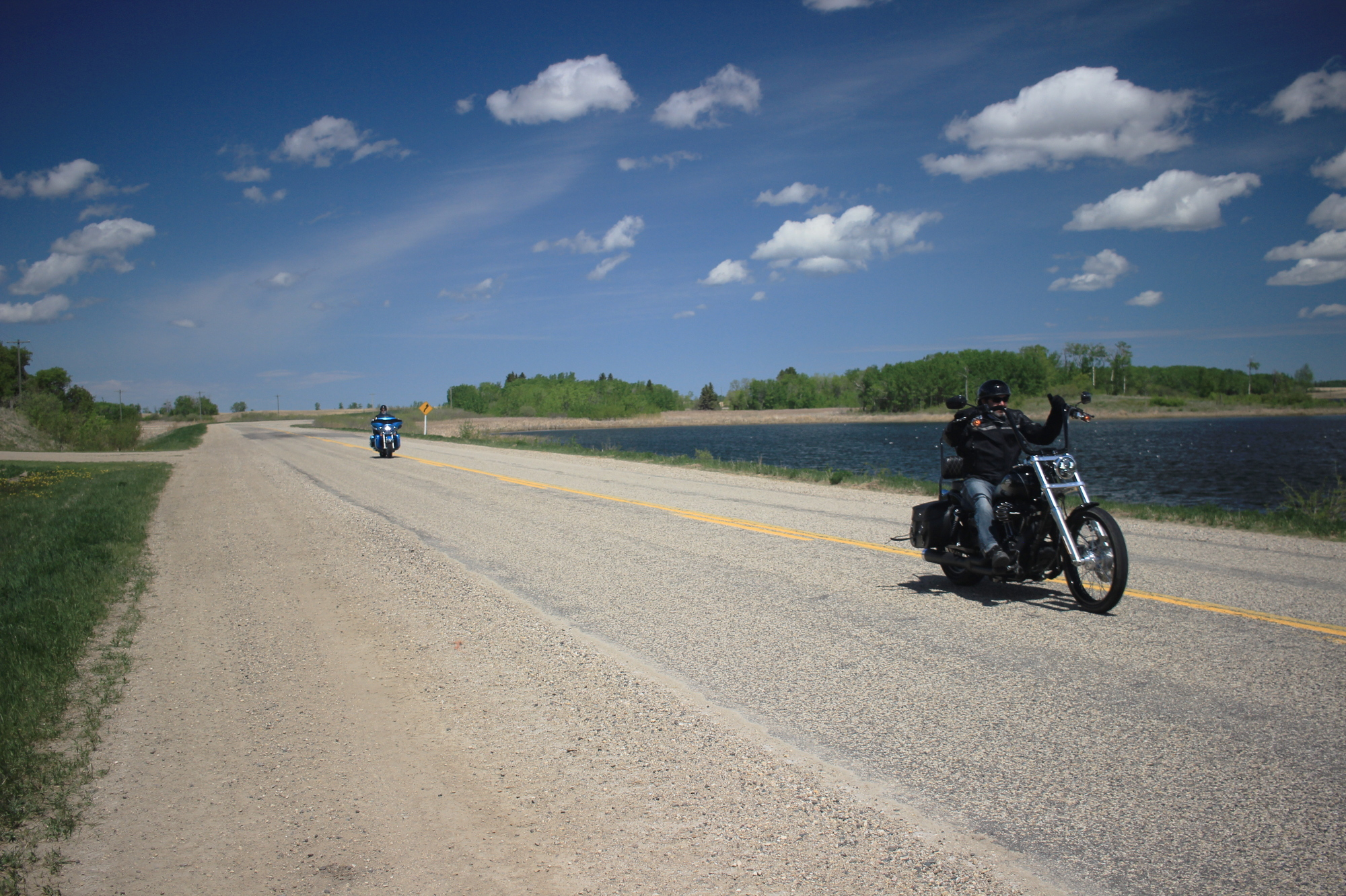 Bikers on the road between Sandy Lake and Rapid City