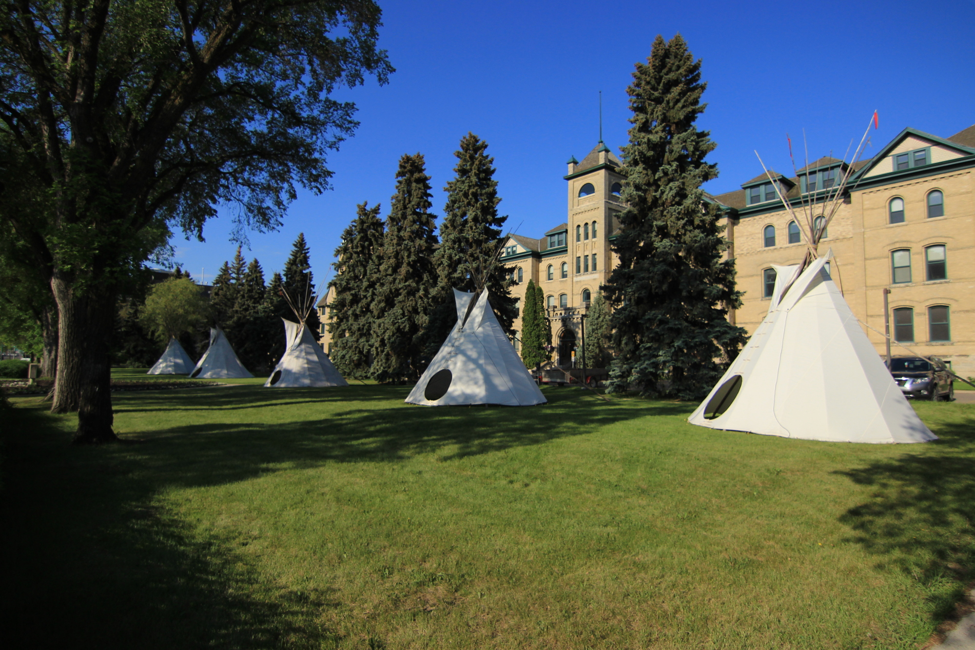 Tipis on the campus of Brandon University