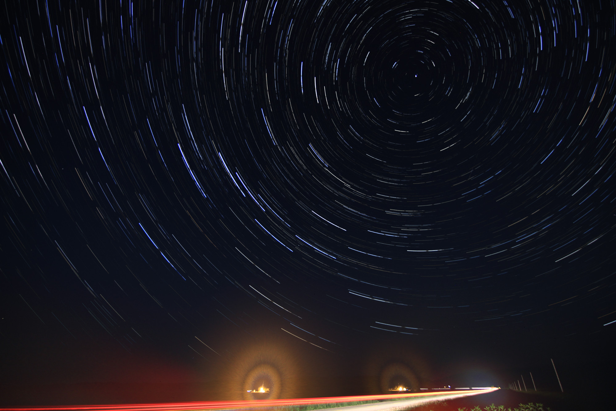 Star trails -- about 100 images, 30 seconds each