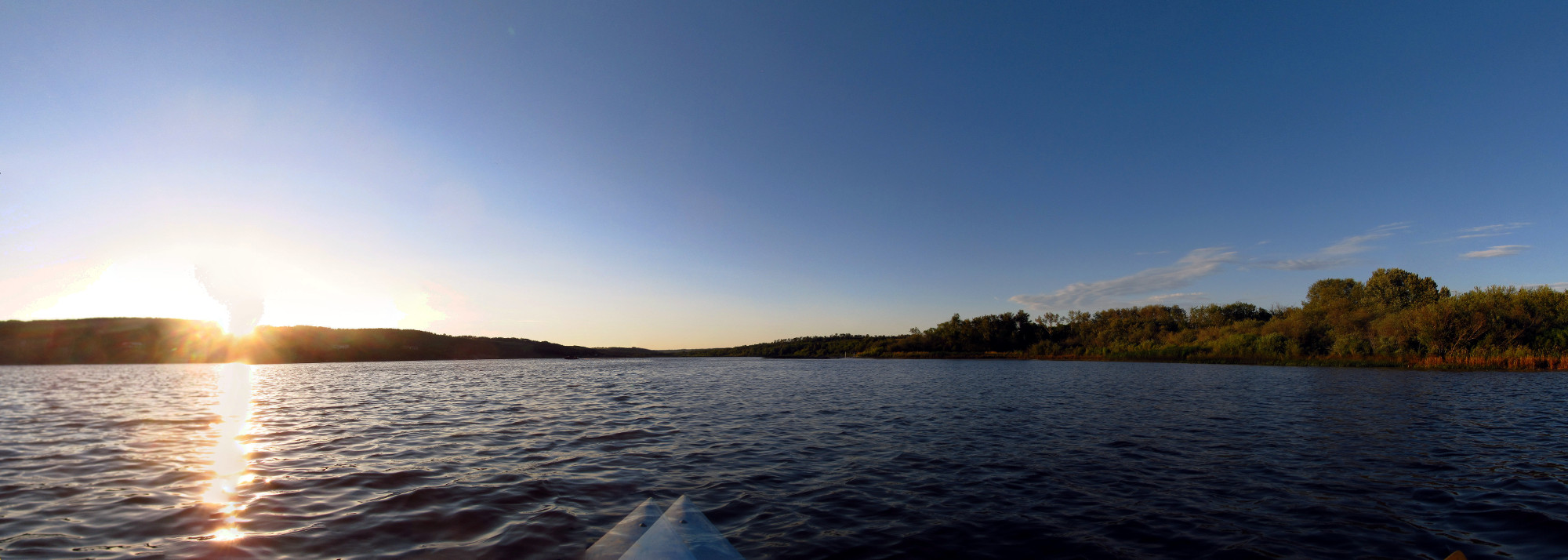 Panoramic view of Lake Minnedosa from a kayak