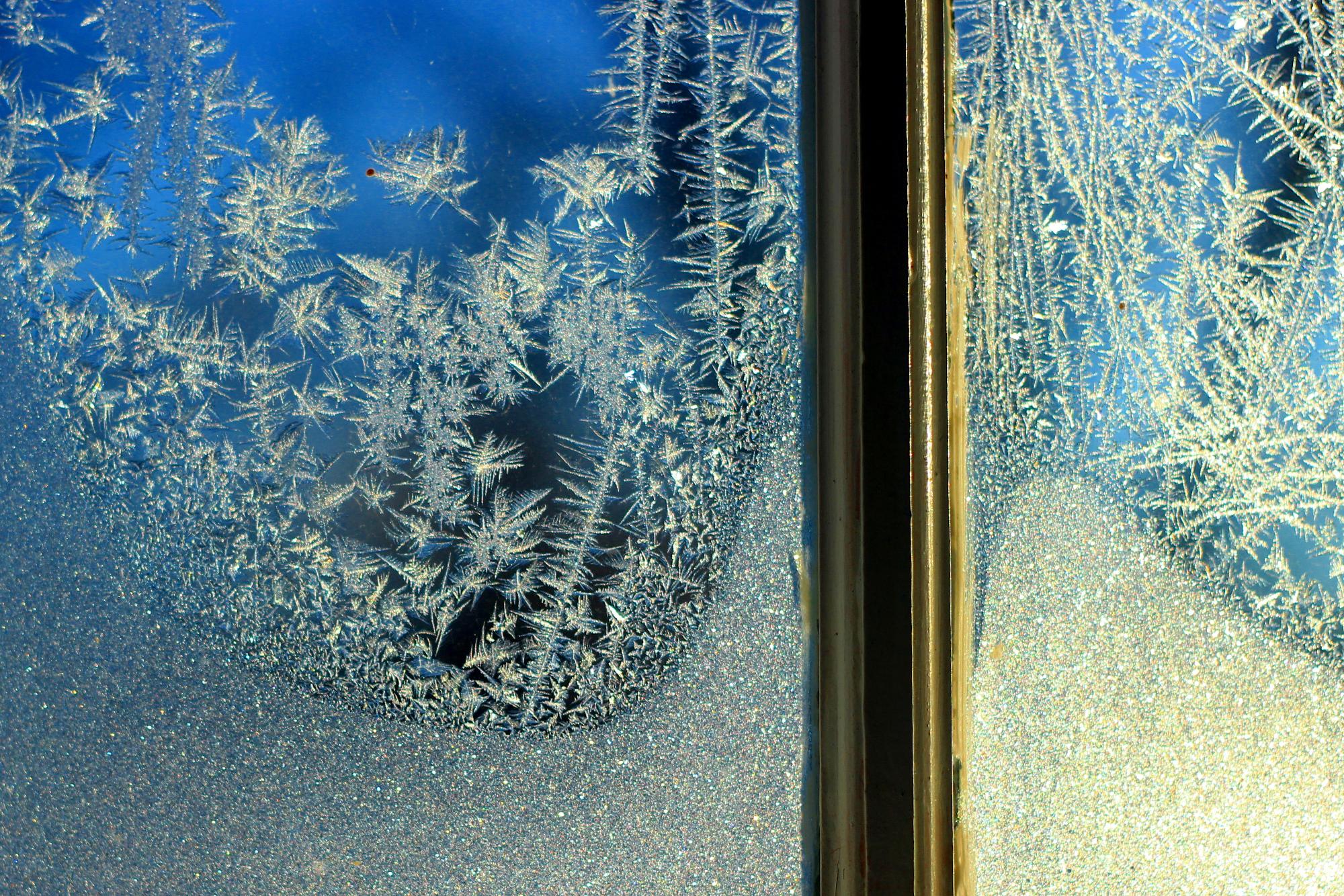 Frosty porch window